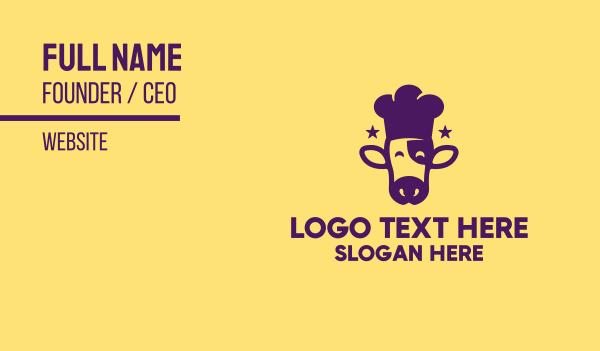 cow - Cow Chef Restaurant  Business card horizontal design