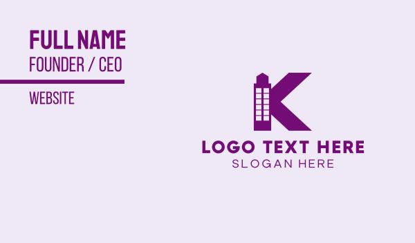 pink tower - Purple Minimalist K Tower Business card horizontal design