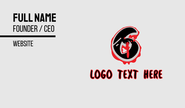 bullet hole - Splatter Graffiti Number 6 Business card horizontal design