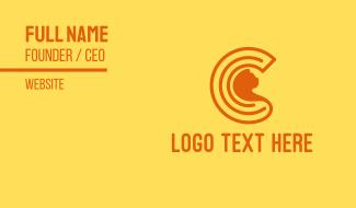 Orange Cat Letter C Business Card