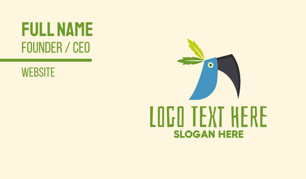 toucan - Tropical Blue Toucan Bird Business card horizontal design