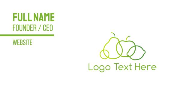 lime - Green Fruit  Business card horizontal design