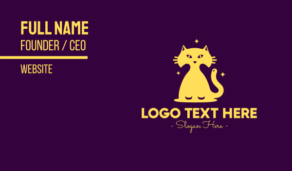 midnight - Yellow Midnight Cat Business card horizontal design