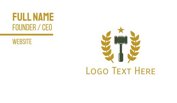 laurel - Gold Laurel Gavel Business card horizontal design