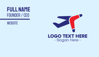 Boomerang Airplane Travel Business Card