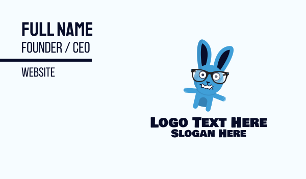 mad - Crazy Bunny Mascot Business card horizontal design
