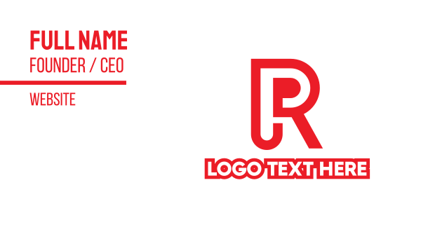 interior designing - Red Blue RP Monogram  Business card horizontal design