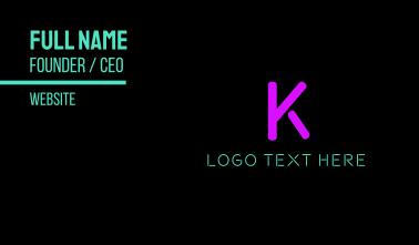 Purple Neon Letter K Business Card