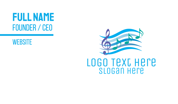 sing - Musical Song Notes Business card horizontal design