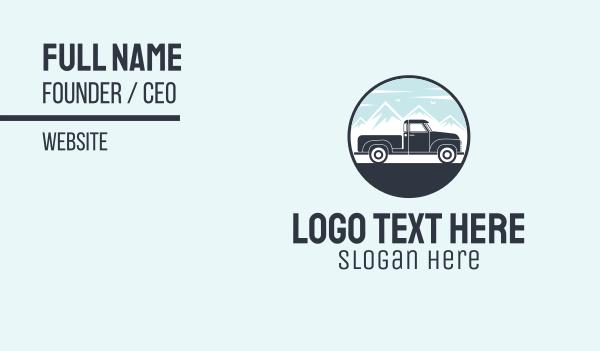 parcel - Pickup Truck Scene Badge Business card horizontal design