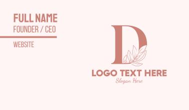 Elegant Leaves Letter D Business Card
