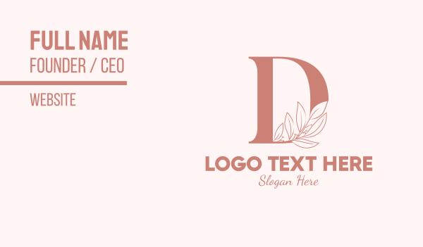 aesthetics - Elegant Leaves Letter D Business card horizontal design