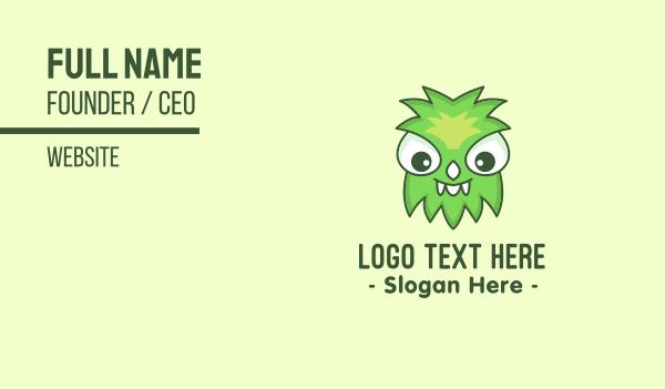 spooky - Cute Green Monster Business card horizontal design