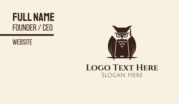 learning center - Owl Graduation Business card horizontal design