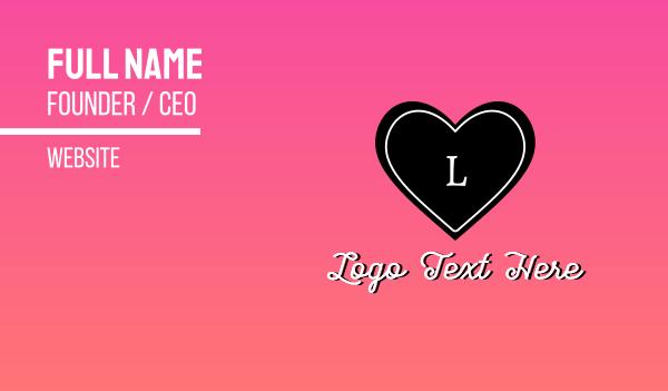 lingerie - Cute Heart Lettermark Business card horizontal design