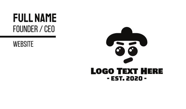wrestler - Angry Sumo Mascot Business card horizontal design