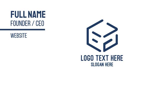 blue box - Minimalist Blue Box Business card horizontal design