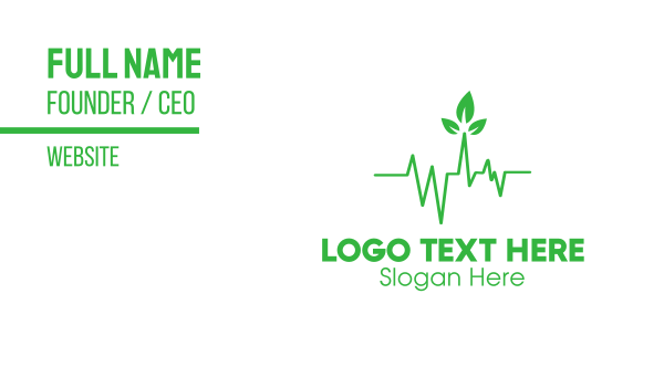 healthcare - Green Leaves Heartbeat Business card horizontal design