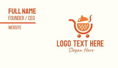 Orange Food Shopping Cart Business Card