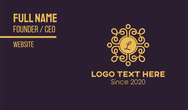 decorate - Golden Luxe Letter Business card horizontal design