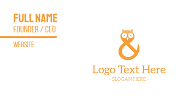 Ampersand Owl Business Card
