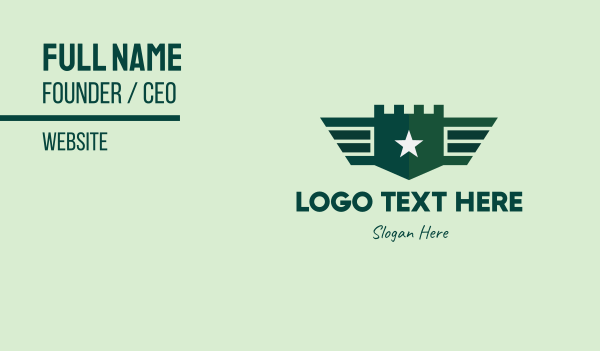 troop - Green Military Shield Badge Business card horizontal design