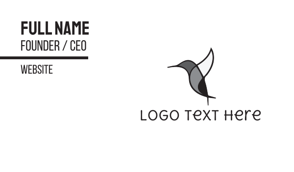 hummingbird - Black Hummingbird Business card horizontal design