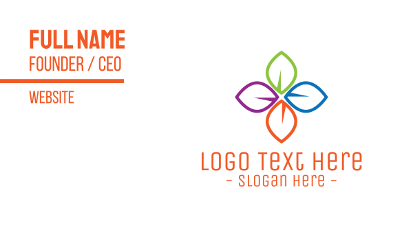 arrangement - Multicolor Leaves Business card horizontal design