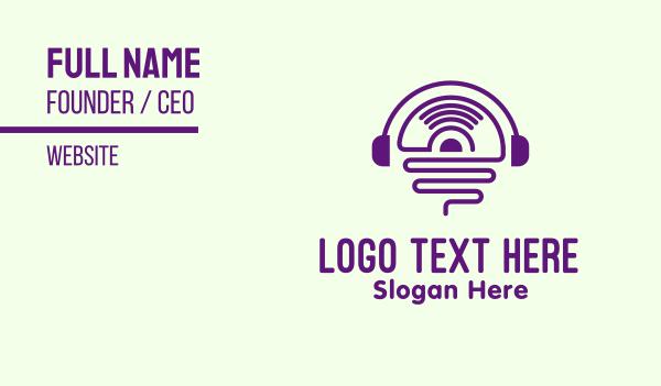 turntable - Vinyl Record Headphones Business card horizontal design