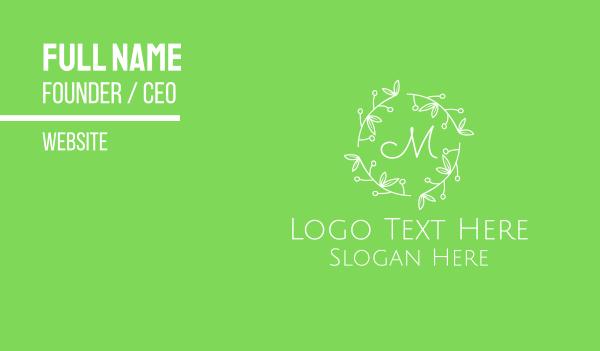arrangement -  Ornamental Green & White Leafy Letter Business card horizontal design