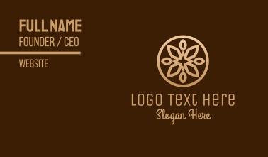 Golden Brown Flower Shape Business Card