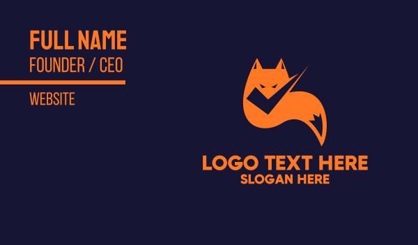 orange - Fox Check Business card horizontal design