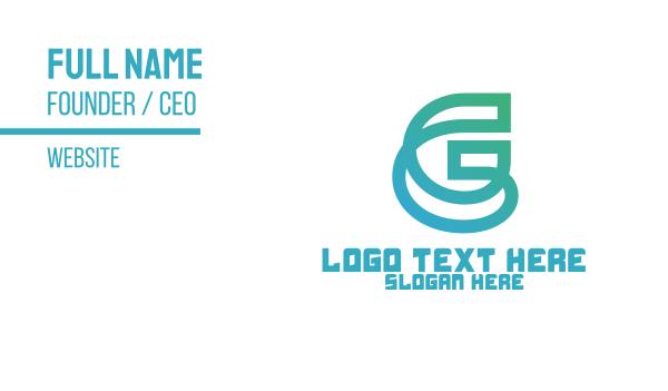 mens salon - Teal Letter G Outline Business card horizontal design