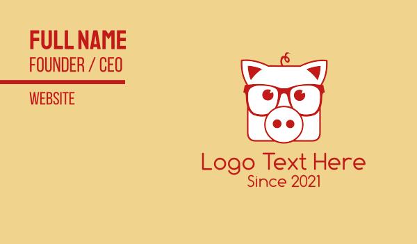 hipster - Hipster Pig Glasses Business card horizontal design