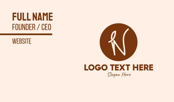 morning - Coffee Leaf Letter N Business card horizontal design