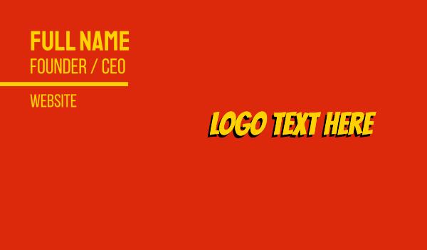 action - Yellow Comic Book Business card horizontal design