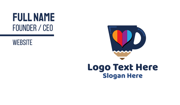 love - Pencil Cup Business card horizontal design