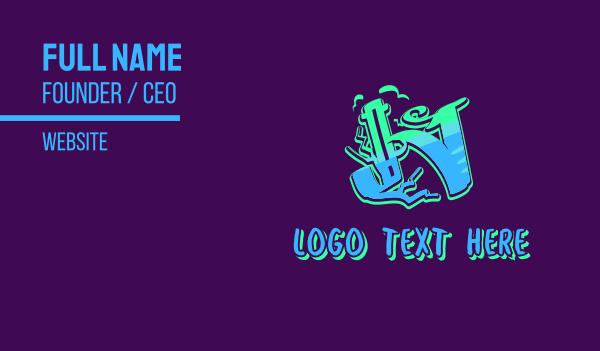 tattoo studio - Neon Graffiti Art Letter N Business card horizontal design