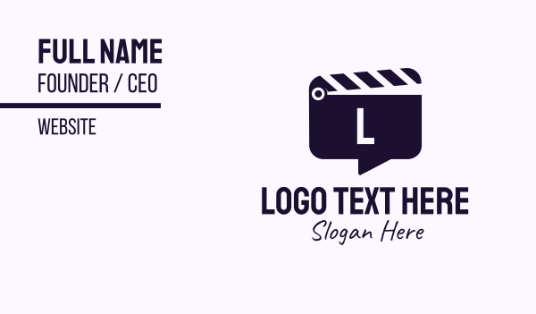chat box - Movie Clapboard Chat Lettermark Business card horizontal design
