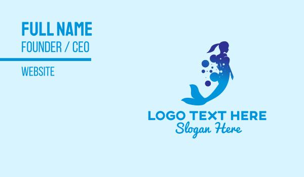 mythology - Mermaid Ocean Bubbles Business card horizontal design