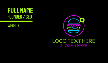 Neon Burger Store Business Card