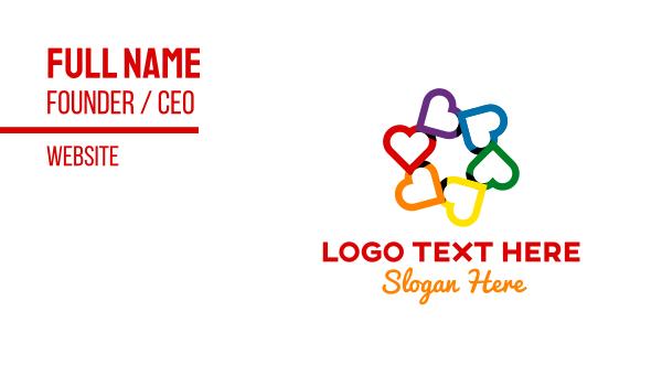 lgbtq - Community Colorful Hearts Business card horizontal design