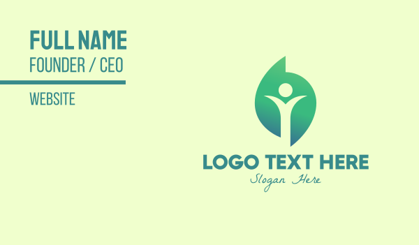 person shape - Green Leaf Person Business card horizontal design