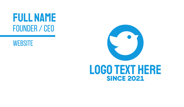 tweet - Blue Cute Little Bird Chat Business card horizontal design