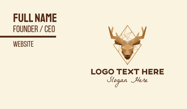 antlers - Geometric Stag Head  Business card horizontal design