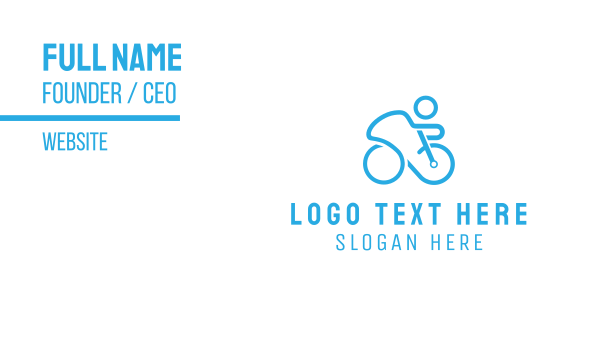 blue bike - Blue Cyclist Business card horizontal design