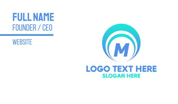 seashell - Blue Seashell Lettermark Business card horizontal design