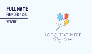 Colorful Balloon Line Art Business Card