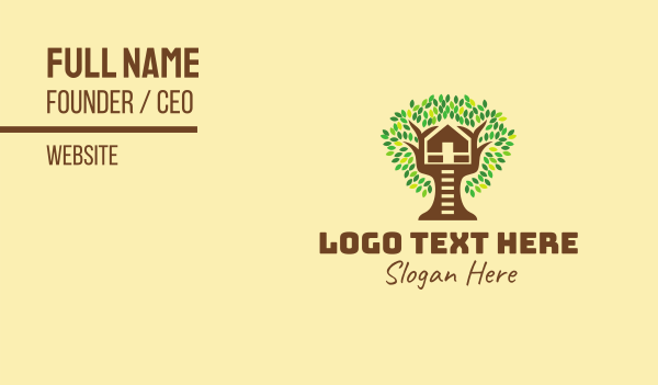 green and brown - Tree House Business card horizontal design