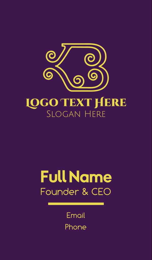 Elegant Curl Letter B Business Card